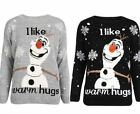 Unisex 'I like warm Hugs' Olaf Frozen Print Christmas Winter Jumper Warm Top