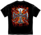 New Black T-Shirt with Hard Core Flames Firefighter Design