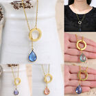 Celebrity Simple Elegant Circle Water Drop pendant Charm Chain necklace Crystal