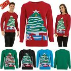 CLEARANCE SALE Mens Womens 3D Bells Teddy Bear Christmas Tree Sweater Jumper Top