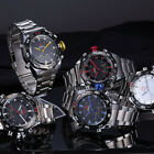 AK-Homme 5 Colour LED Digital Analog Stainless Steel Mens Quartz Wrist Watch New