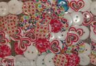 CLEARANCE - 50/100 ASSORTED RESIN HEART PATTERN  BUTTONS#986 # 20MM/ 2 HOLES