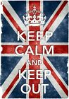 KC38 Vintage Style Union Jack Keep Calm And Keep Out Funny Poster Print A2/A3/A4