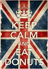 KCV43 Vintage Style Union Jack Keep Calm Eat Donuts Funny Poster Print A2/A3/A4