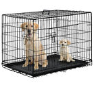 "Black 48"" 2 Door Pet Cage Folding Dog w Divider Cat Crate Cage Kennel w Tray LC"