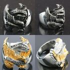 "Mens Stainless Steel Eagle ""Live To Ride,Ride To Live"" Finger Ring Biker Jewelry"