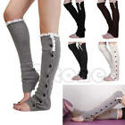 Women Vogue Flat Button Knee High Knit Crochet Lace Trim Leg Warmer Boot Socks