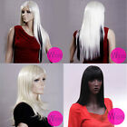 Long Straight Classic Wig With Bangs 100% Kanekalon Elegant Lady Wig 3 Colors