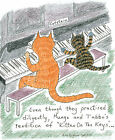 blank A5 card Cats Tabitha and Mungo practise Kitten On The Keys cartoon cattoon