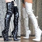 womens over knee patent leather boots pointed toe high heel lace up shoes 36-46