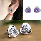 925 Sterling Silver Heart Purple Crystal Shiny Ear Stud Earrings CHIC Fashion