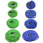 Deluxe 25 50 75 100 Feet Expandable Flexible Garden Water Hose Nozzle Green / Blue