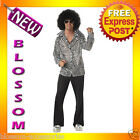 C747 Groovy Disco Shirt Mens  60's 70's Fancy Dress Costume Outfit + Afro Wig