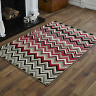 NEW SMALL MEDIUM LARGE EXTRA LARGE BLACK GREY RED CREAM WAVE PATTERN SOFT RUG