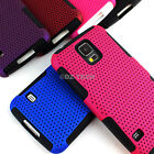 For Samsung Galaxy S5 SV APEX Hybrid Gel Perforated Hard Matte Soft Case Cover