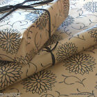 Dahlia Flowers Black Patterned Kraft Brown Wrapping Paper 5 or 10 mtrs