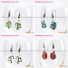 Fashion Beautiful 12x18mm Beads Carved Tibetan Silver Dangle Earrings 1 Pair