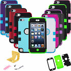 Armor Hybrid Hard Soft Rubber Impact Case Cover + Film For iPod Touch 5th GEN