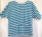 Turquoise & White Striped Knit Top Size Petite Medium & Large Joseph A New Tags
