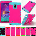 Neon Hot Pink Rugged Hybrid Kickstand Hard Cover Case for Samsung Galaxy Note 4