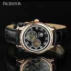 PACIFISTOR MENS GENTS SKELETON MECHANICAL WRIST WATCH SWISS STYLE LUXURY LEATHER
