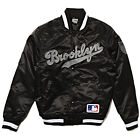 MAJESTIC ATHLETIC KEOSIAN SATIN VARSITY JACKET MLB BROOKLYN BLACK RRP £100