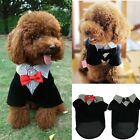 Puppy Dog Clothes Costume Pet Dog Clothing Western Style Male Black Suit Bow Tie