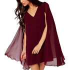 Fashion Casual Women V Neck Sleeveless Pullover Chiffon Shawl Cape Mini Dress