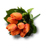 Latex Real Touch Tulip Posy Wedding Flower Bouquet Fake Flowers 12 Heads w  Leaf