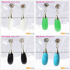 Beautiful Drop White Blue Green Red Black Beads Tibetan Silver Stud Earrings