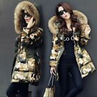Luxurious Winter Warm Women Camouflage Good Real Fur Hood Real Down Parka Coat
