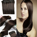 "#2 Darkest Brown Clip In Straight Remy 100% Real Human Hair Extensions 20"" 16"""