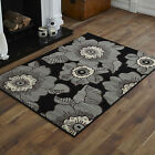 NEW MODERN SMALL MEDIUM LARGE EXTRA LARGE BLACK GREY FLOWERS PATTERN SOFT RUG