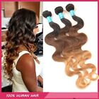 4 Bundles 3Tone Ombre Body Wave Hair Weft Virgin Peruvian Human Hair Extensions