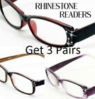 3 COMBO Rhinestone Reading Glasses Women Designer Fashion Optic Reader Assorted