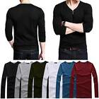 New Men Casual Long Sleeve T-Shirt Basic Tee GYM Sports Tee V-Neck Tops 6 Colors
