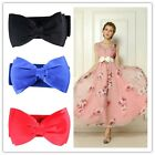 1x Women Bowknot Elastic Bow Wide Stretch Buckle Waistband Waist Belt White - Z