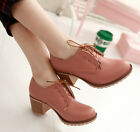 Women's Lace Up faux leather Oxfords Brogue Mid block Heels Wing Tip shoes