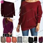 Womens Ladies One Shoulder Chunky Knit Knitted Oversize Baggy Sweater Jumper Top