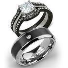 His Tungsten & Hers 4 Pcs Black Stainless Steel Wedding Engagement Ring Band Set