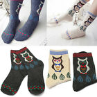 1 Pair Owl Wool Cotton Socks Women Girls Kids Vintage Cartoon Comfort Soft Sock