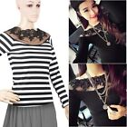 Women's Shirt Off Shoulder Sexy Lace Long Sleeve Slim Top Blouse Casual