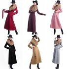 Womens Full Length Winter Jacket Large Faux Fur Double-breasted Wool Trench Coat