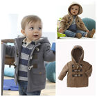 Winter New Fashion Kids Boys Horn Button Coat Outerwear Thick Clothes