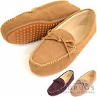 Ladies Suede Driving / Outdoor Moccasins / Loafers with Rubber Sole