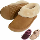 Ladies Luxury Sheepskin Slipper Boot Thick Cuff / Lightweight Flexible Hard Sole