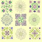 Anemone Quilt Squares Complete Collection-7 sets-4 sizes-for Machine Embroidery