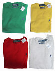 Polo Ralph Lauren Mens Cotton Cashmere Knit Crew Neck Yellow Red Green Sweater