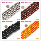 Round 10-11mm White Black Blue Pink Freshwater Pearl Jewelry Making Beads 15""
