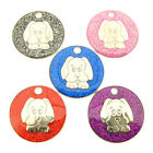 Personalised Engraved Dog Image Glitter Pet Disc ID Tag-5 Colours-Free Engraving